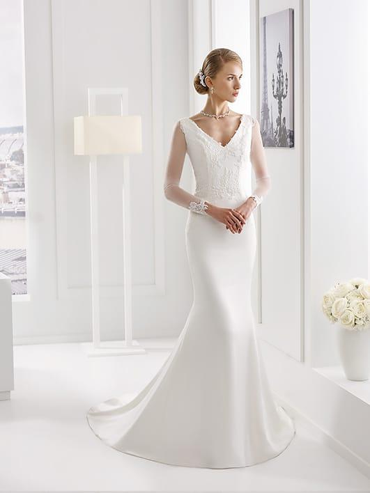 Vestido de novia de diseño, elegante, exclusivo, sencillo y económico.