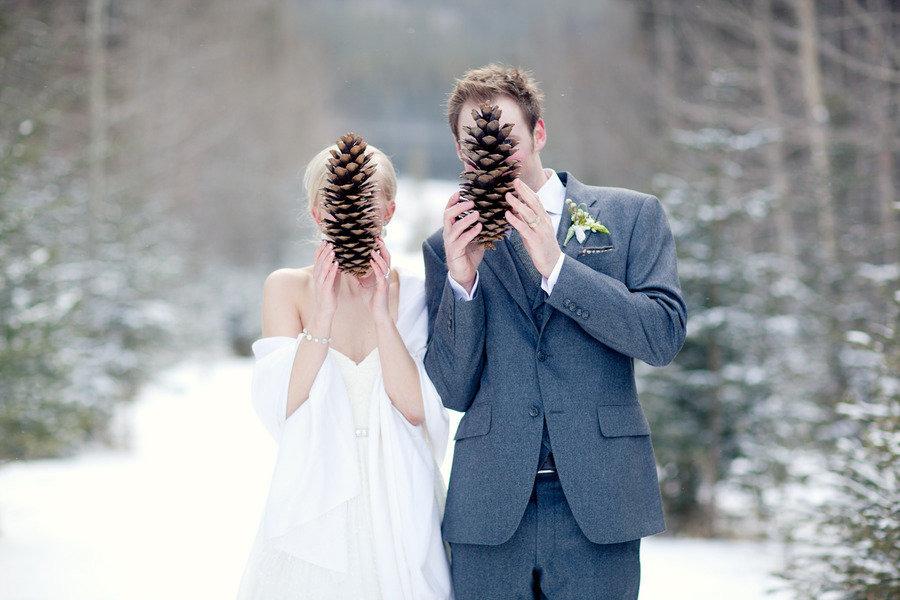 El sueño de una boda de invierno en la nieve.