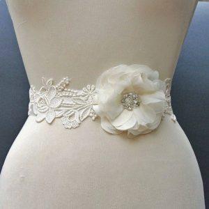 cinturon de flores para vestido de novia