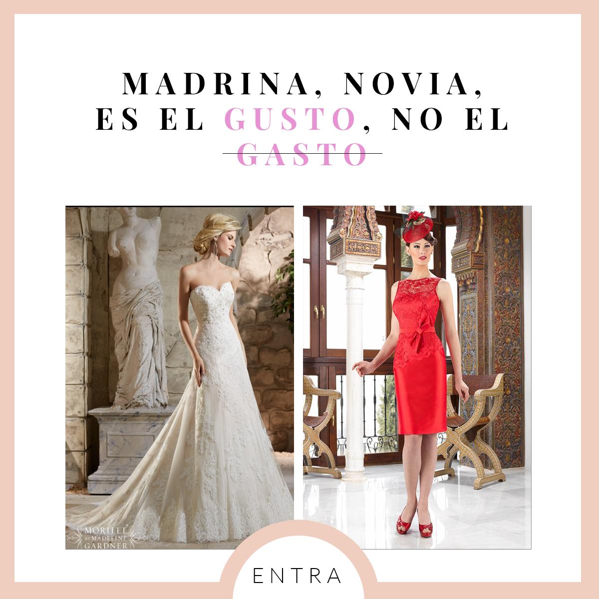 Madrina, Novia, es el Gusto, no el Gasto. Tienda de vestidos de novia